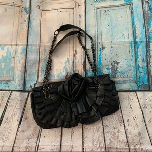 Black faux leather purse by Giannini
